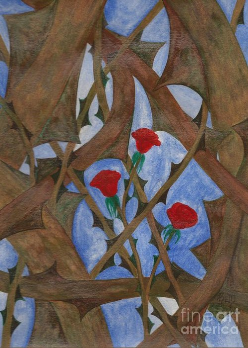 Roses Greeting Card featuring the painting It's Complicated by Robert Meszaros