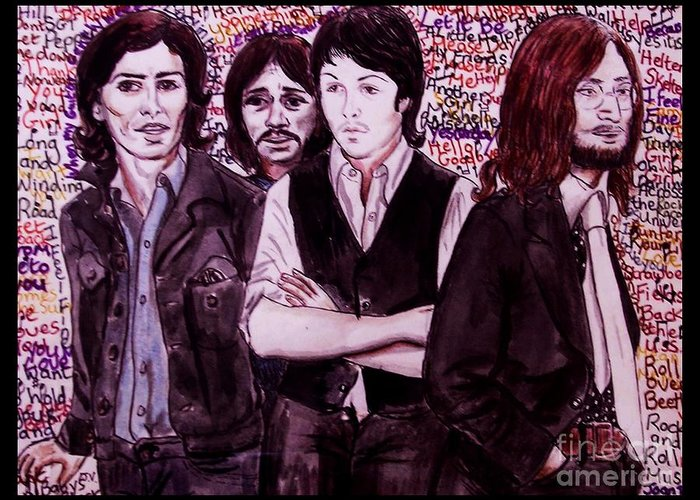 The Beatles Greeting Card featuring the painting It's Only A Northern Song Bordered by Joan-Violet Stretch