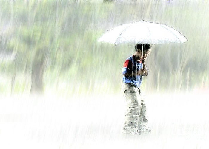 Children Greeting Card featuring the photograph It's Raining Outside by Heiko Koehrer-Wagner