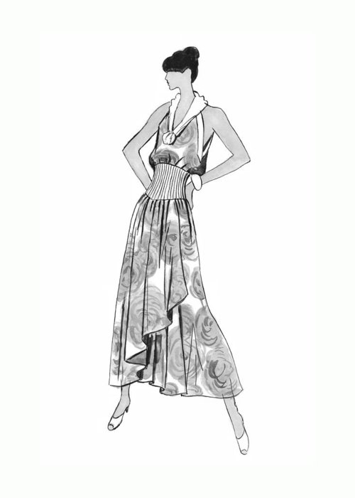 Fashion Illustration Greeting Card featuring the drawing It's Sarong It's Right by Sarah Parks