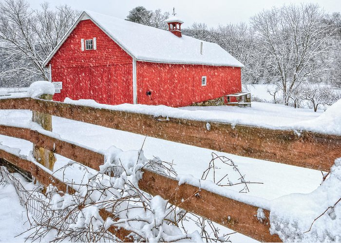 Old Red Barn Greeting Card featuring the photograph It's Snowing by Bill Wakeley