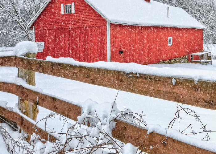 Barnyard Greeting Card featuring the photograph It's Snowing Square by Bill Wakeley