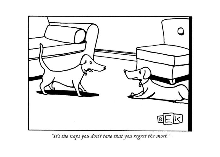 Animals Greeting Card featuring the drawing It's The Naps You Don't Take That You Regret by Bruce Eric Kaplan
