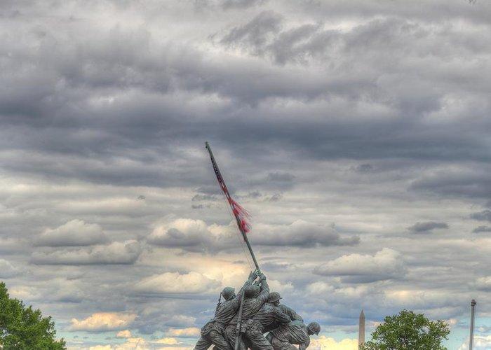 America Greeting Card featuring the photograph Iwo Jima Memorial - Washington Dc - 01131 by DC Photographer