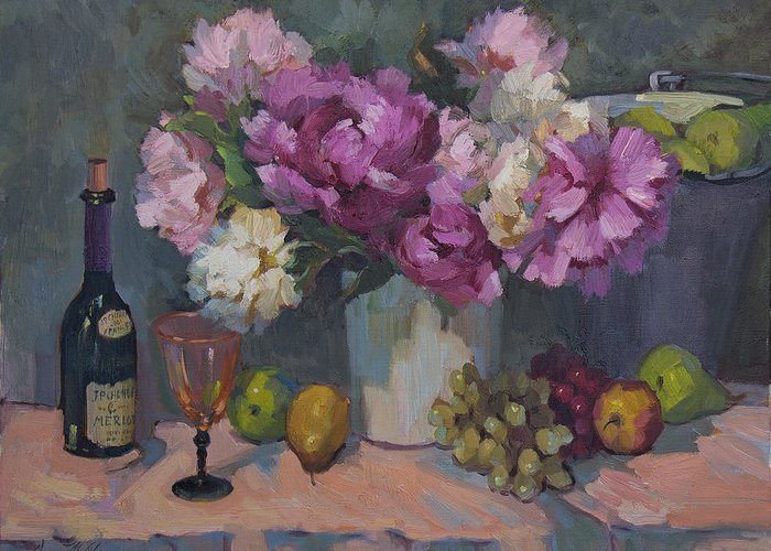 Wine Greeting Card featuring the painting J. P. Chenet And Peonies by Diane McClary