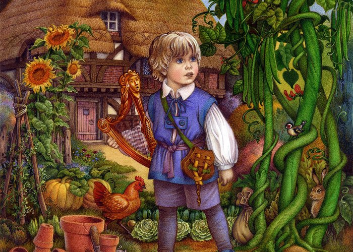Carol Lawson Greeting Card featuring the painting Jack And The Beanstalk By Carol Lawson by Carol Lawson