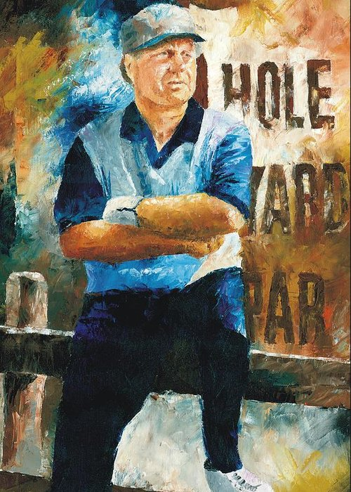 Jack Greeting Card featuring the painting Jack Nicklaus by Christiaan Bekker