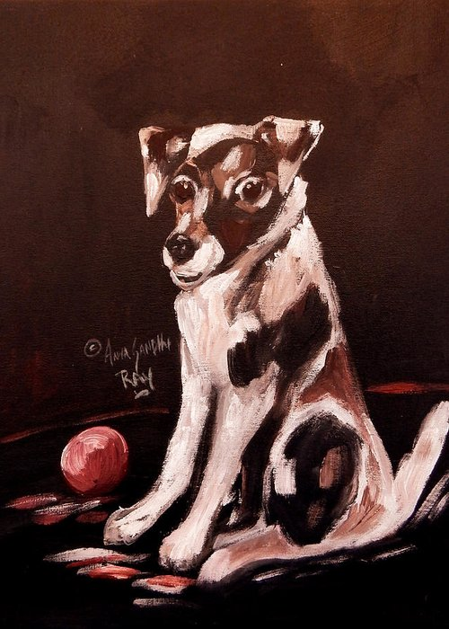 Dog Greeting Card featuring the painting Jack Russell by Anna Sandhu Ray