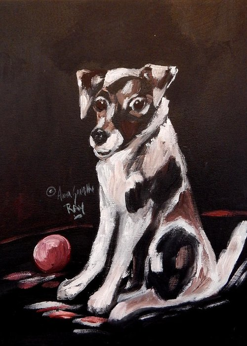 Dog Greeting Card featuring the painting Jack Russell II by Anna Sandhu Ray