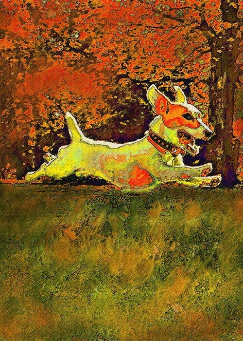 Jane Schnetlage Greeting Card featuring the digital art Jack Russell In Autumn by Jane Schnetlage
