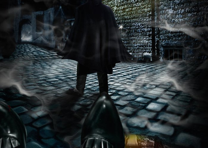 Top Hat Greeting Card featuring the digital art Jack The Ripper by Alessandro Della Pietra