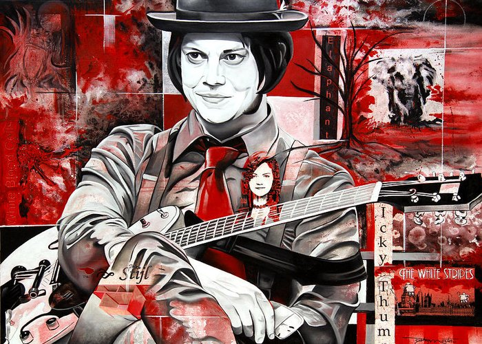 Jack White Greeting Card featuring the painting Jack White by Joshua Morton