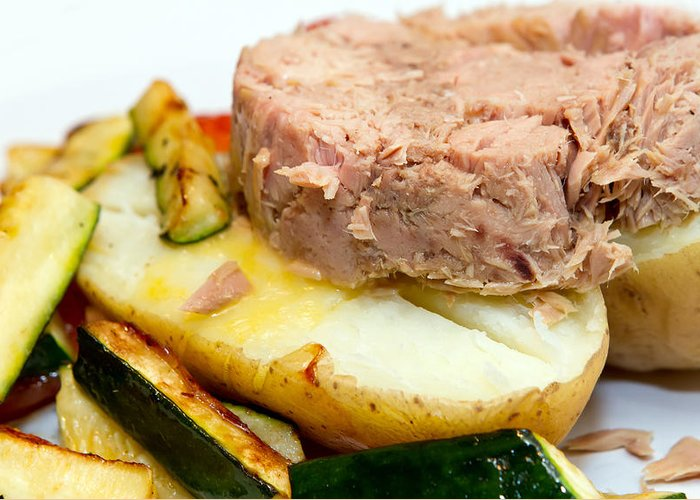 Baked Greeting Card featuring the photograph Jacket Potato With Tuna Filling by Fizzy Image