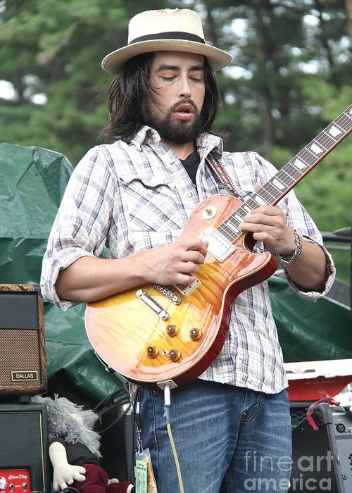 Acoustic Guitar Greeting Card featuring the photograph Jackie Greene by Concert Photos