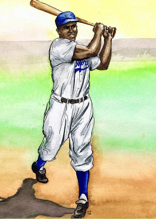 Baseball Greeting Card featuring the drawing Jackie Robinson by Mel Thompson