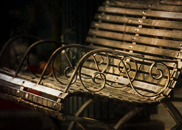 Bench Greeting Card featuring the photograph Jackson Square Bench by Brenda Bryant