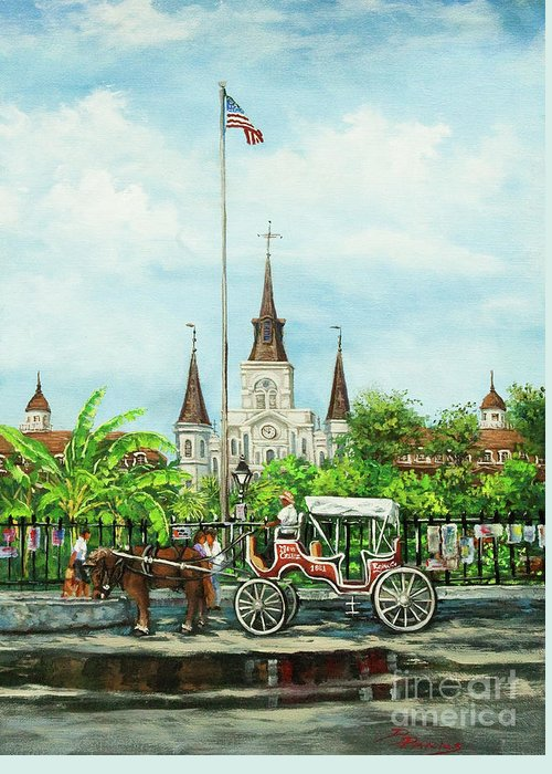 New Orleans Art Greeting Card featuring the painting Jackson Square Carriage by Dianne Parks