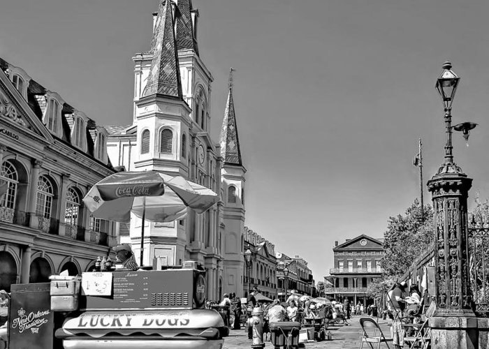 French Quarter Greeting Card featuring the photograph Jackson Square Monochrome by Steve Harrington