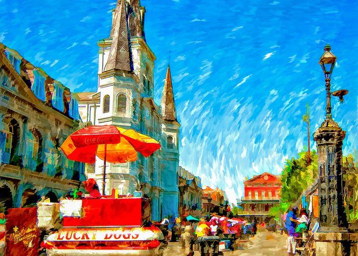 French Quarter Greeting Card featuring the photograph Jackson Square Painted Version by Steve Harrington