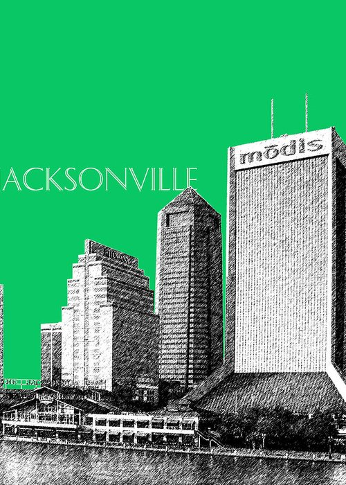 Architecture Greeting Card featuring the digital art Jacksonville Florida Skyline - Green by DB Artist