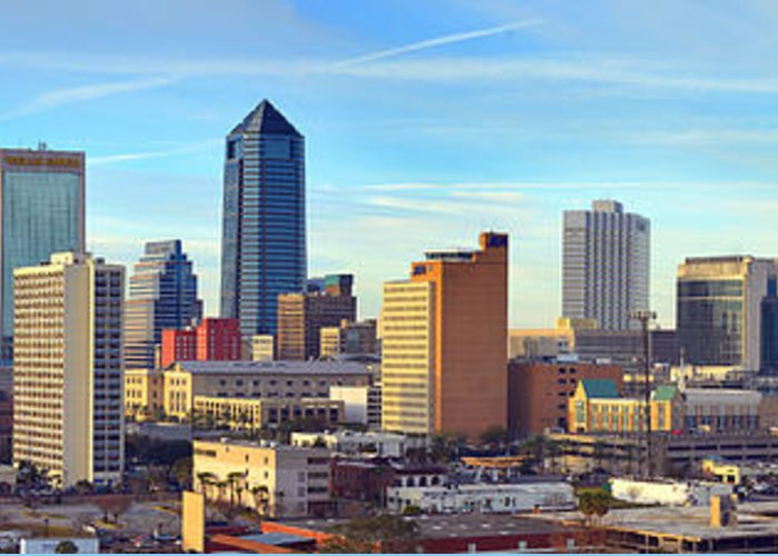 Jacksonville Skyline Greeting Card featuring the photograph Jacksonville Skyline Morning Day Color Panorama Florida by Jon Holiday