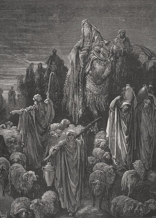 Famine Greeting Card featuring the painting Jacob Goeth Into Egypt by Gustave Dore