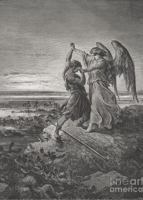 Wrestle Greeting Card featuring the painting Jacob Wrestling With The Angel by Gustave Dore