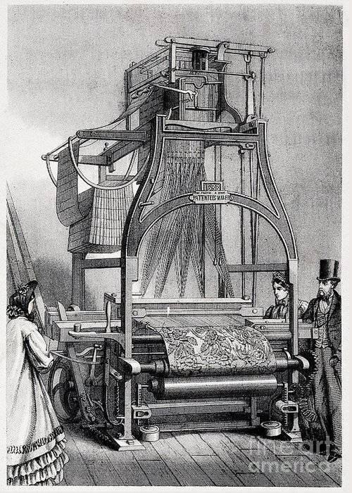 Jacquard Loom For Weaving Textiles Greeting Card
