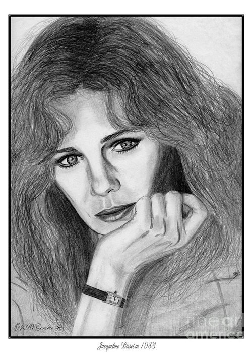 Jacqueline Bisset Greeting Card featuring the drawing Jacqueline Bisset In 1983 by J McCombie