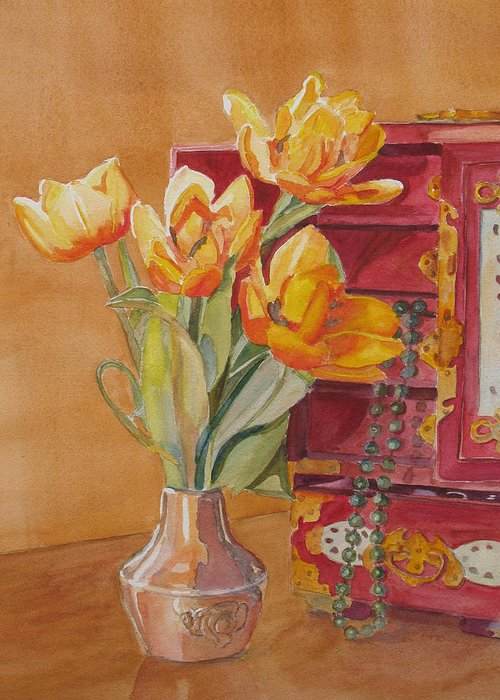 Tulips Greeting Card featuring the painting Jade And Tulips by Jenny Armitage