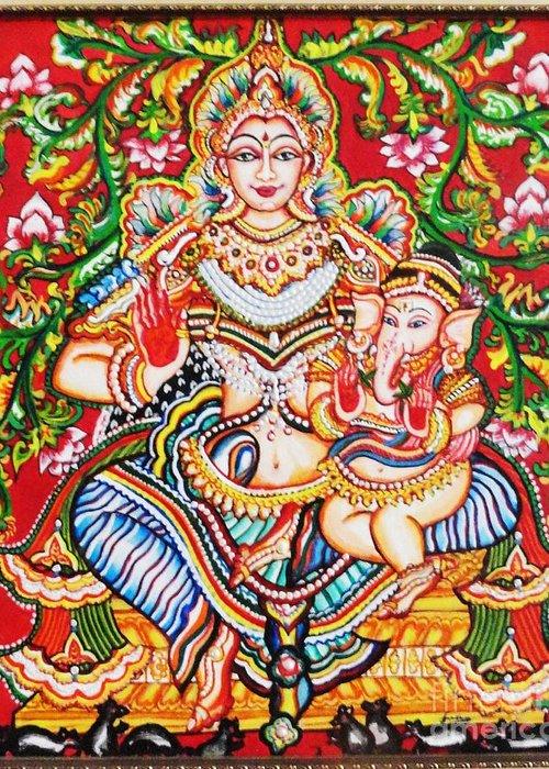 Kerala Greeting Card featuring the painting Jaganmatha by Jayashree