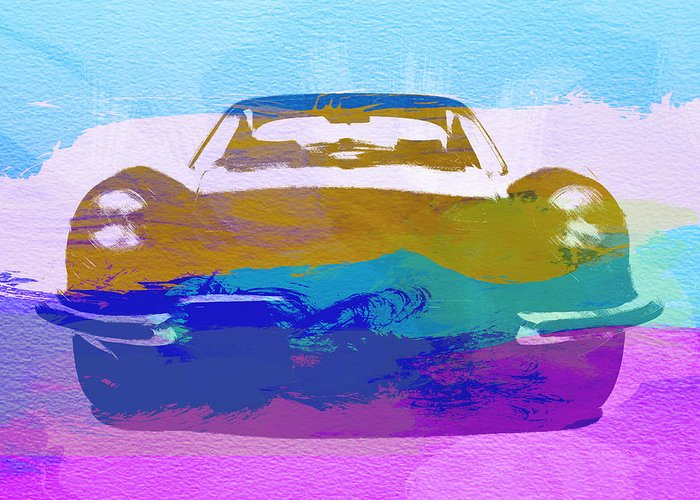 Jaguar E Type Greeting Card featuring the painting Jaguar E Type Front by Naxart Studio
