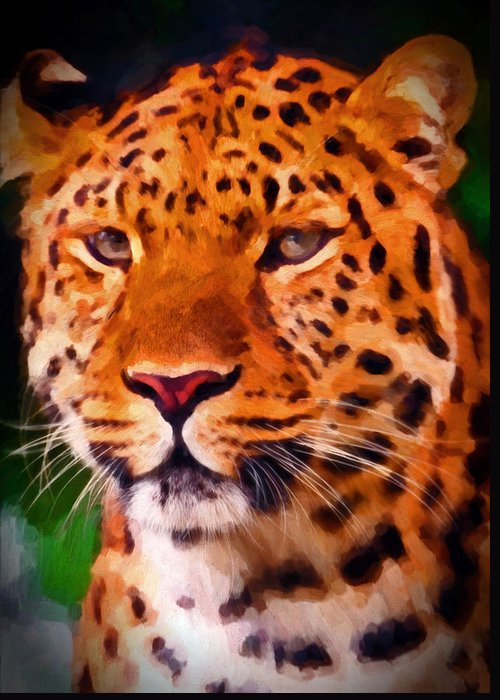 Panther Greeting Card featuring the painting Jaguar by Michael Pickett