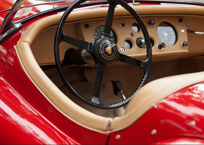 Jaguar Greeting Card featuring the photograph Jaguar Steering Wheel by Jill Reger
