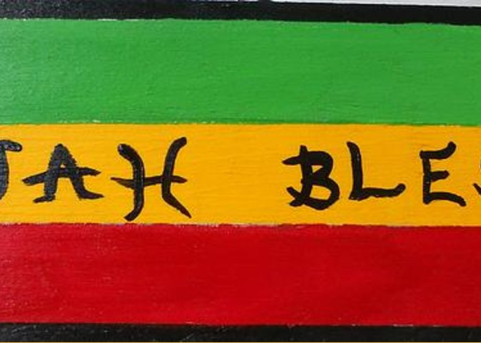 Jah bless greeting card for sale by monica art shack jah bless greeting card featuring the painting jah bless by monica art shack m4hsunfo