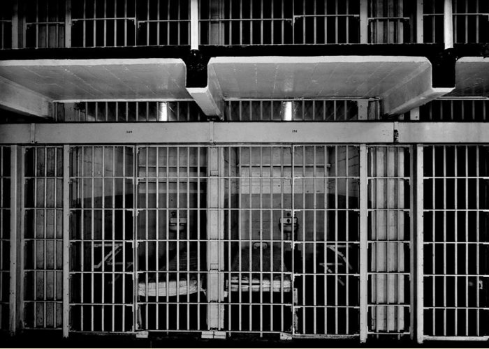 Alcatraz Greeting Card featuring the photograph Jail Cells by Benjamin Yeager