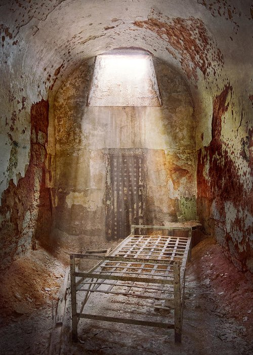 Jail Greeting Card featuring the photograph Jail - Eastern State Penitentiary - 50 Years To Life by Mike Savad