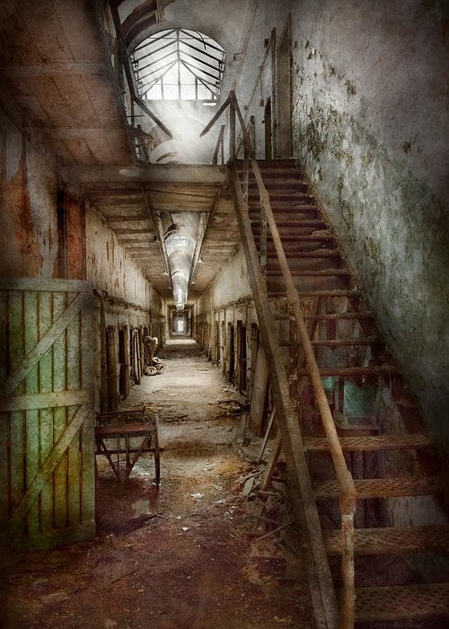 Jail Greeting Card featuring the photograph Jail - Eastern State Penitentiary - Down A Lonely Corridor by Mike Savad