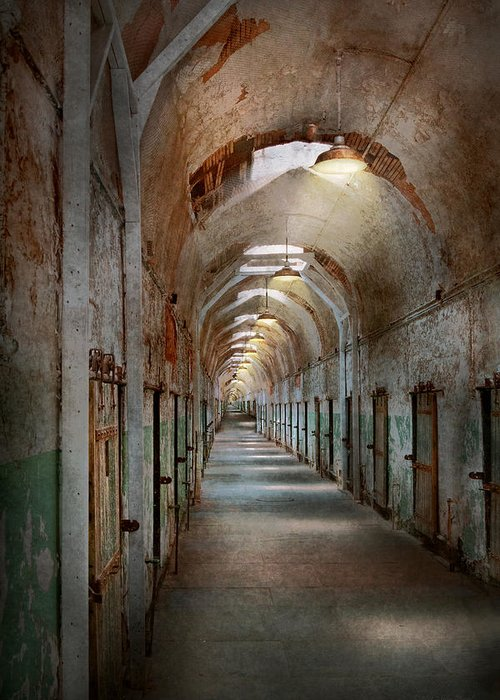 Jail Greeting Card featuring the photograph Jail - Eastern State Penitentiary - Endless Torment by Mike Savad
