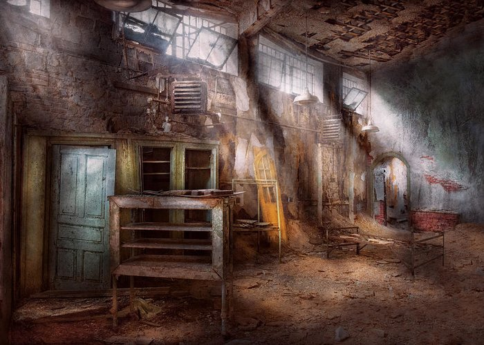 Jail Greeting Card featuring the photograph Jail - Eastern State Penitentiary - Sick Bay by Mike Savad