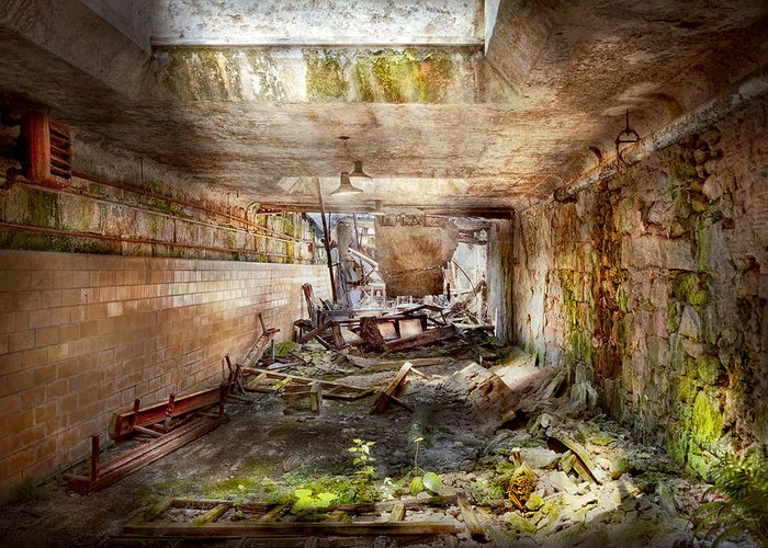 Jail Greeting Card featuring the photograph Jail - Eastern State Penitentiary - The Mess Hall by Mike Savad