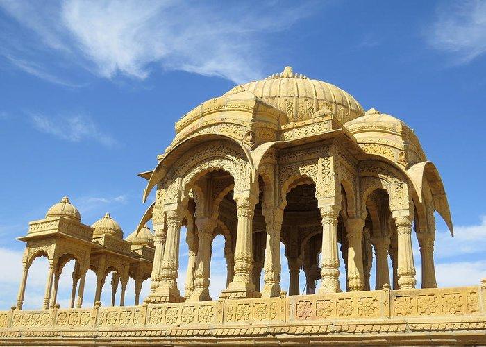 Jaisalmer Greeting Card featuring the photograph Jaisalmer Cenotaph by David Rich