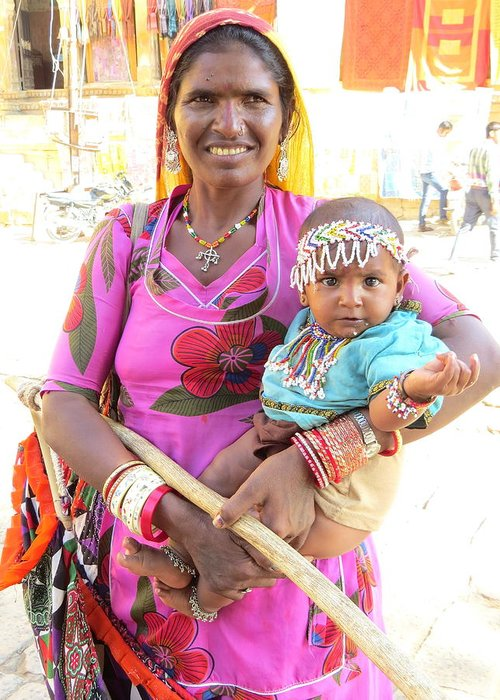 Jaisalmer Greeting Card featuring the photograph Jaisalmer Mother Daughter by David Rich