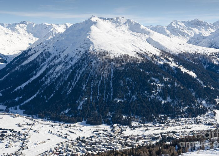 Davos Greeting Card featuring the photograph Jakobshorn Davos Mountains And Town Switzerland by Andy Smy