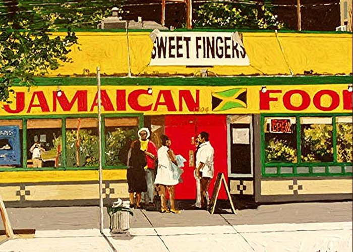 Sacramento Greeting Card featuring the painting Jamaican Food by Paul Guyer