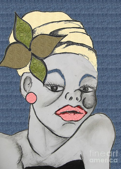 Lady Greeting Card featuring the drawing Jamaican Gal Denim by Karen Larter