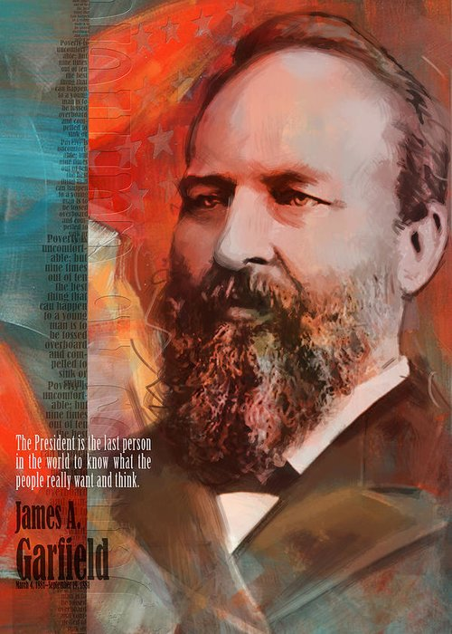 James A Garfield Greeting Card featuring the painting James A. Garfield by Corporate Art Task Force