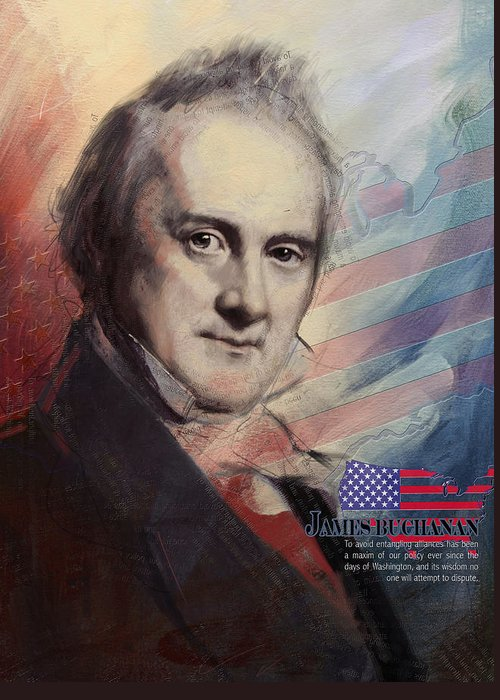 James Buchanan Greeting Card featuring the painting James Buchanan by Corporate Art Task Force