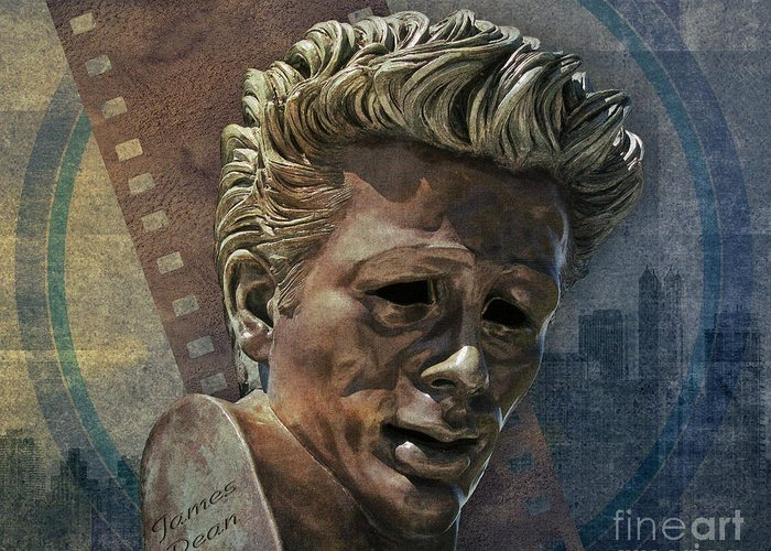 Digital Greeting Card featuring the digital art James Dean by Peter Awax