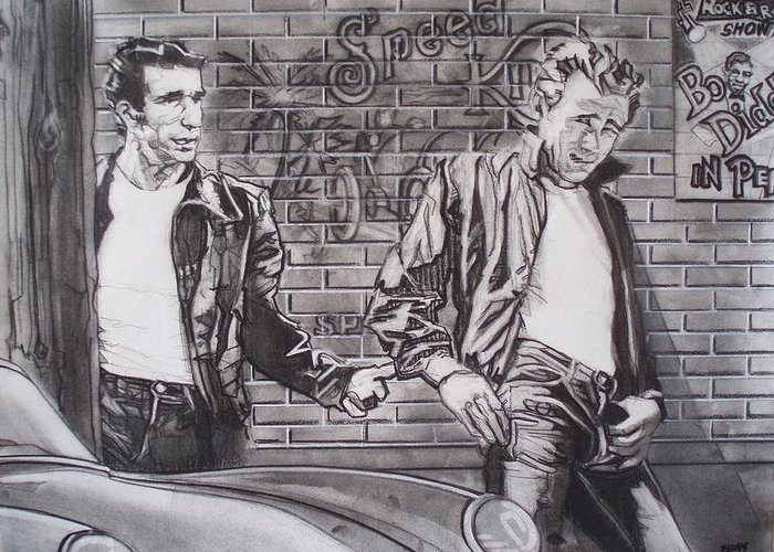 Americana Greeting Card featuring the drawing James Dean Meets The Fonz by Sean Connolly